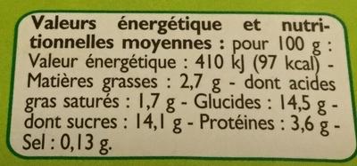 Yaourts Citron - Informations nutritionnelles - fr