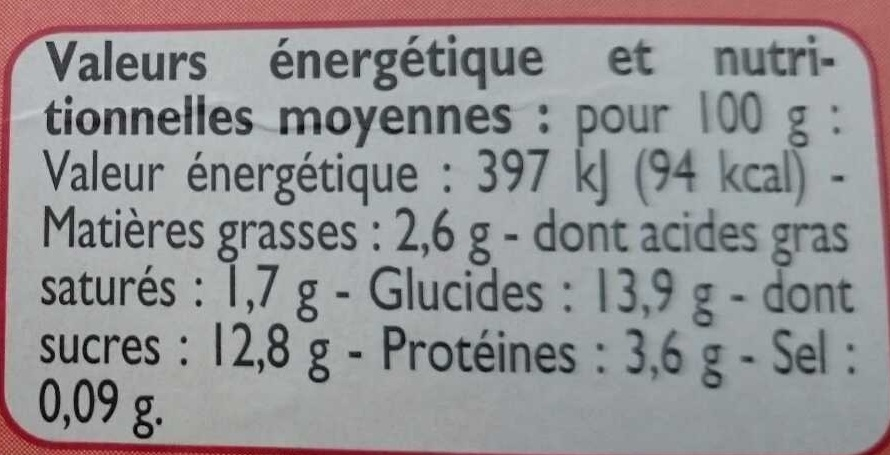 Yaourts pêches du Roussillon - Nutrition facts
