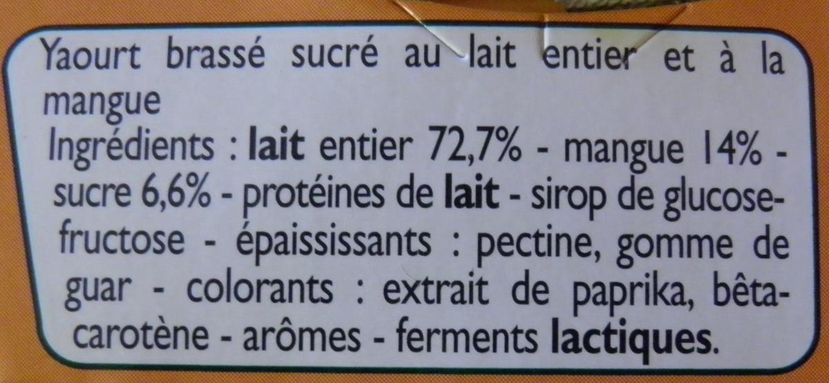 Yaourts Mangues - Ingrédients - fr
