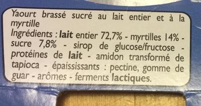 Yaourts myrtilles - Ingrédients - fr