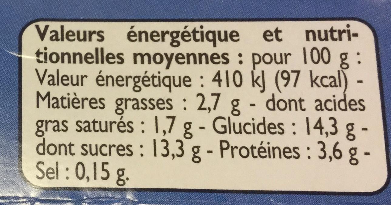 Yaourts myrtilles - Informations nutritionnelles - fr