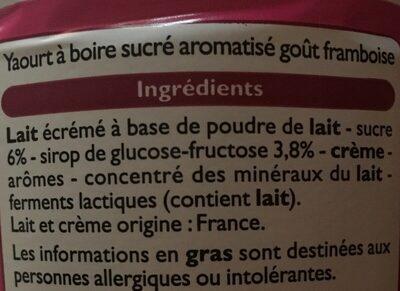Yaourt à Boire Aromatisé Goût Framboise - Ingredients - fr