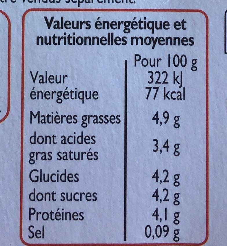 Yaourt nature au lait de chèvre - Informations nutritionnelles
