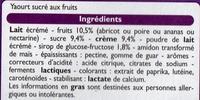 Yaourts Crémeux aux fruits jaunes (Abricot, Poire, Ananas, Nectarine) 8 Pots - Ingredients - fr