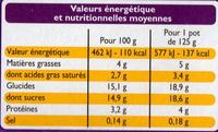 Yaourts Crémeux aux fruits jaunes (Abricot, Poire, Ananas, Nectarine) 8 Pots - Nutrition facts - fr