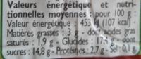 Créme dessert saveur pistache - Informations nutritionnelles - fr