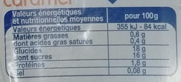 Flan caramel (12 pots) - Informations nutritionnelles - fr