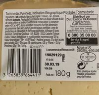 Tomme des pyrenees IGP - Ingredienti - fr