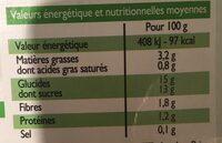 Plaisir chocolat au lait d'amande - Informations nutritionnelles - fr