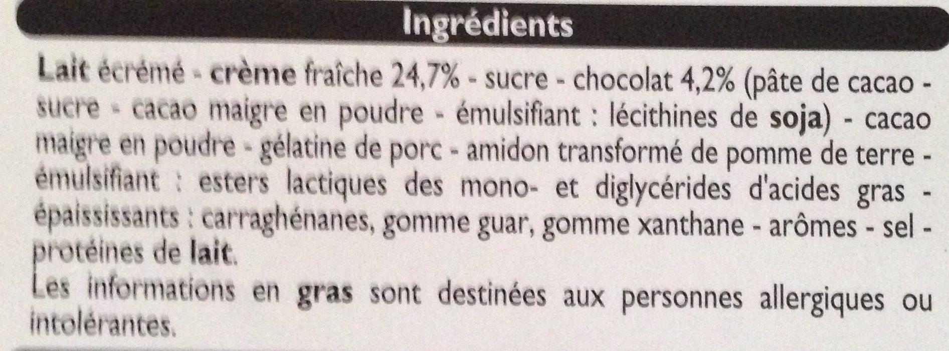 Mousse Liégeoise au Chocolat - Ingrédients - fr
