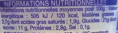 Riz au lait - Informations nutritionnelles