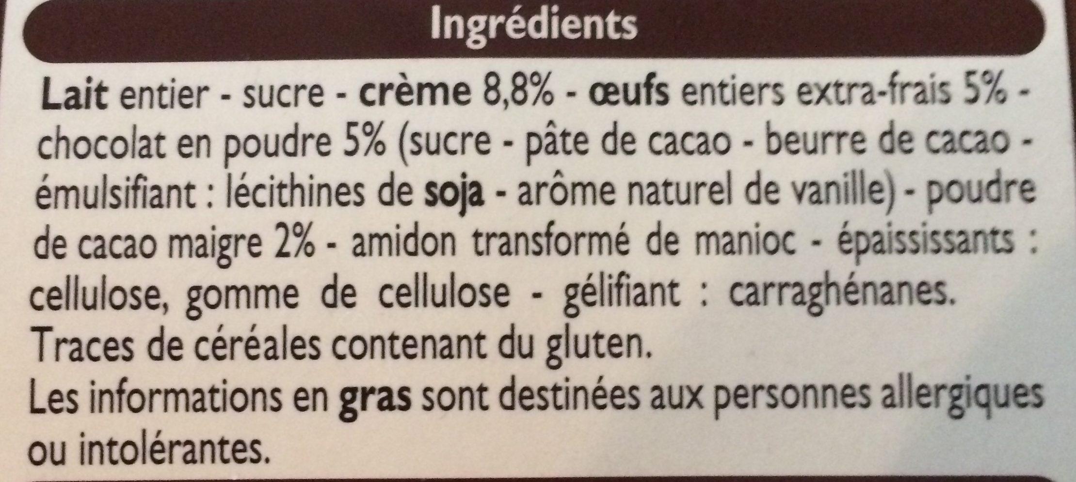 Petits Pots à la Crème Cuits au four Chocolat - Ingrediënten