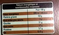 Petits pots à la crème cuits au four café - Informations nutritionnelles