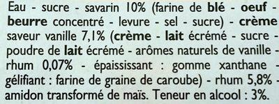 Baba au Rhum Crème Saveur Vanille - Ingrediënten