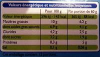Le petit Suisse, nature (10 % MG) - Nutrition facts - fr