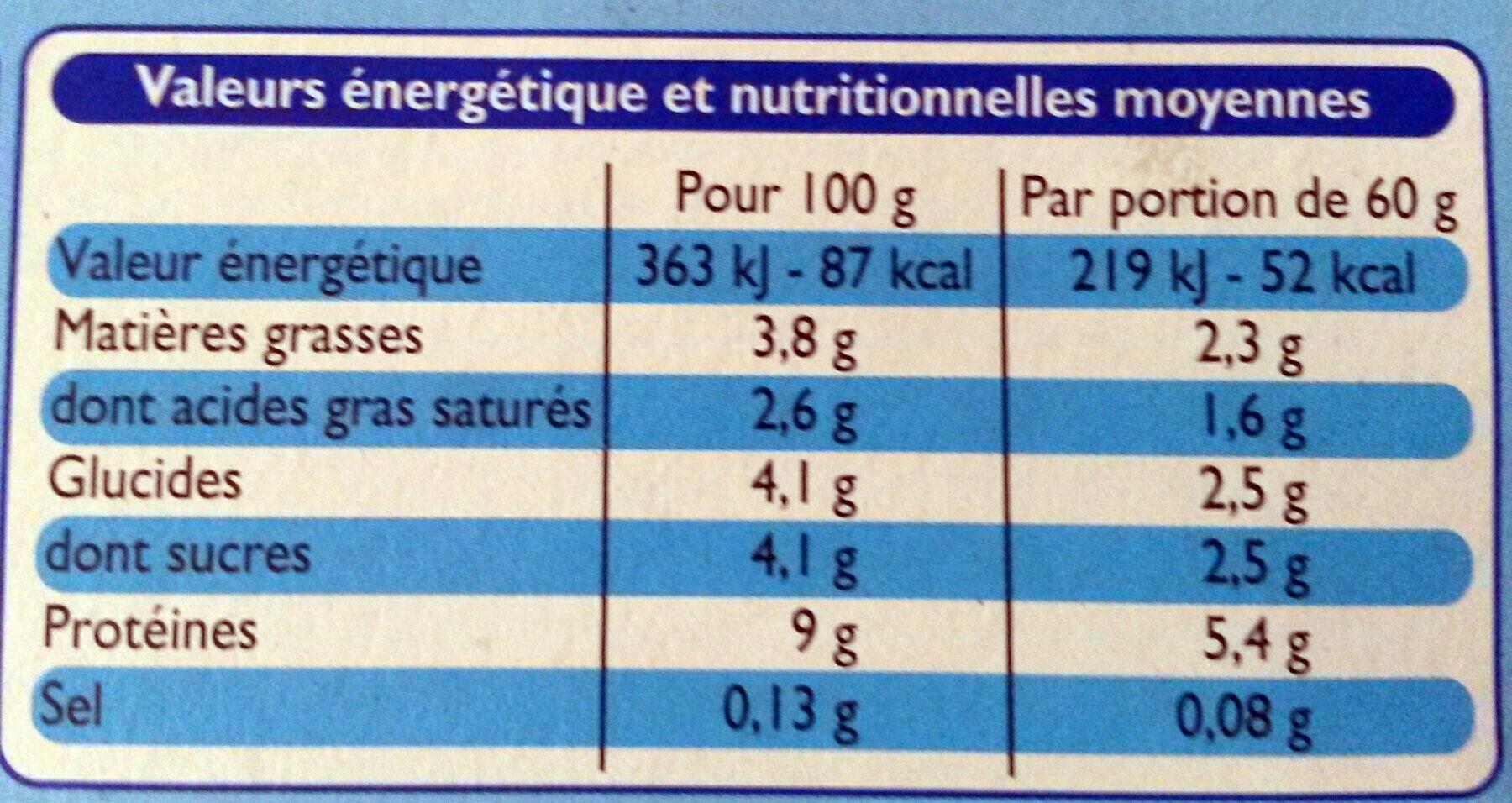 Le Petit frais nature - Valori nutrizionali - fr