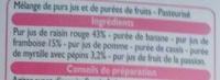 Smoothie framboise myrtille - Ingrédients - fr
