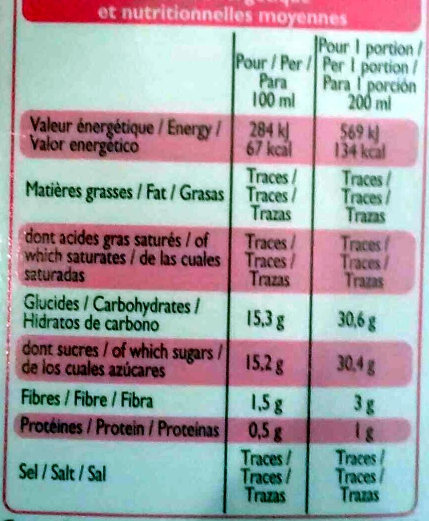 Smoothie framboise myrtille - Informations nutritionnelles - fr