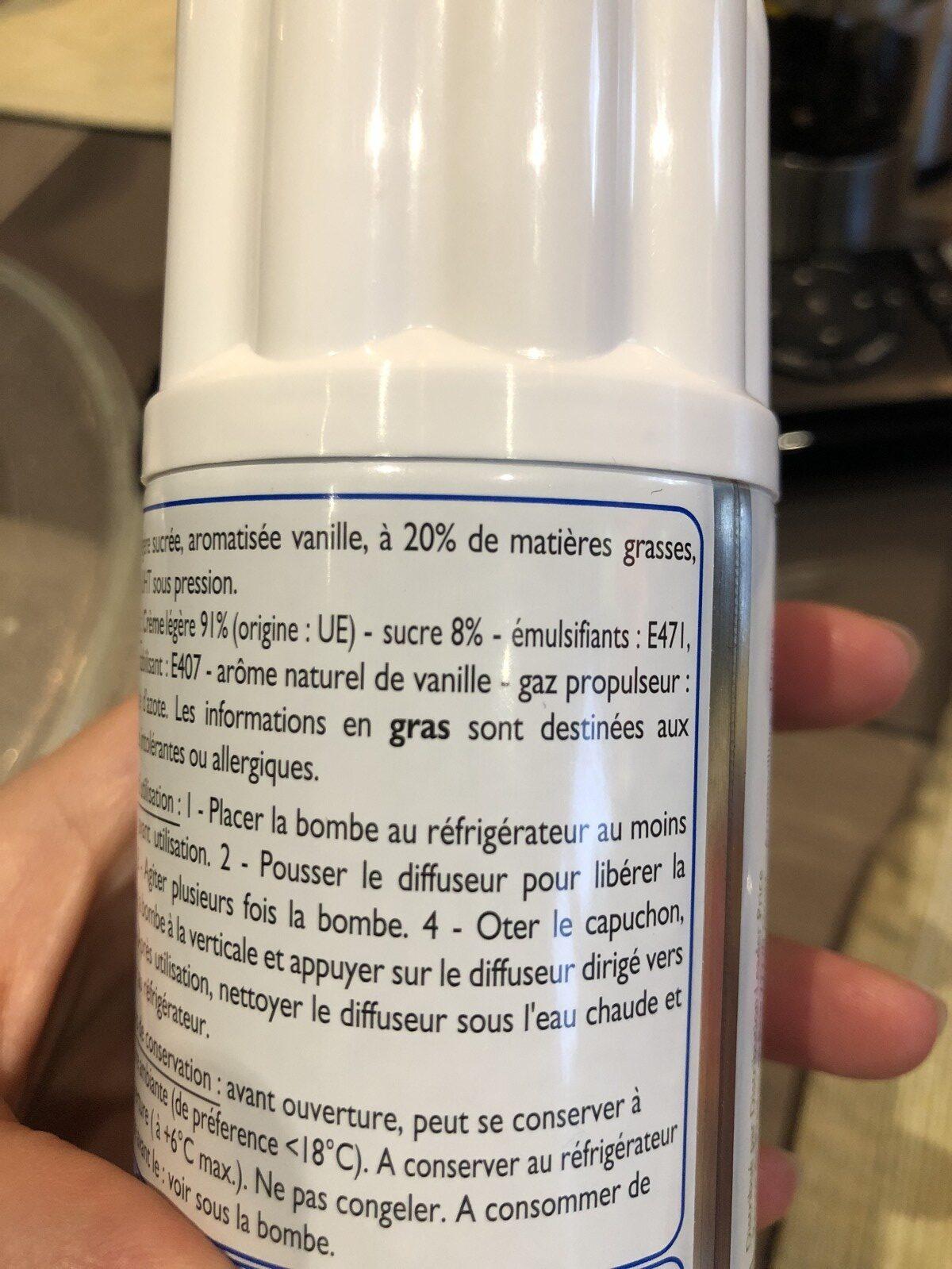 Crème légère sucrée aromatisée vanille - Ingrediënten