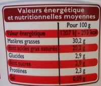 Crème fraîche épaisse entière (30 % MG) - Informations nutritionnelles