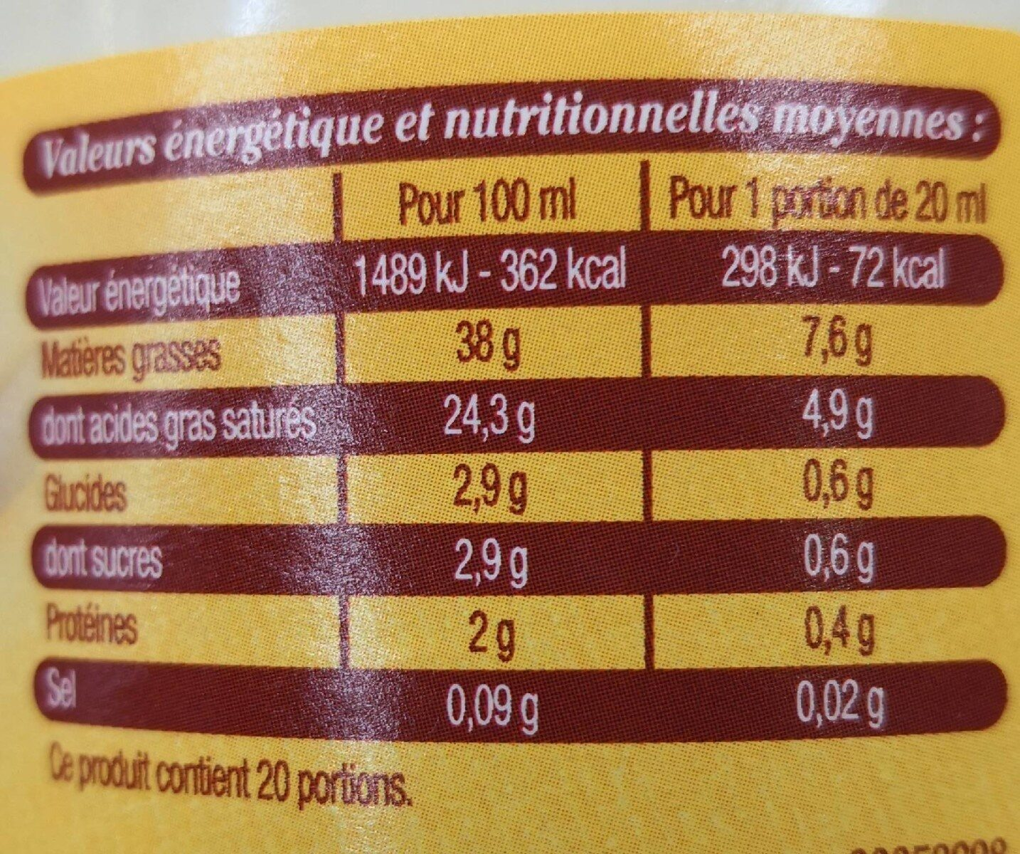 Crème Fraîche d'isigny AOP 38% - Nutrition facts - fr