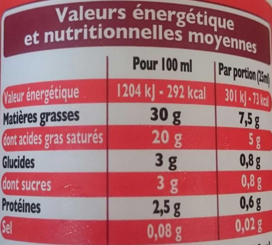 Crème Fleurette - Nutrition facts - fr