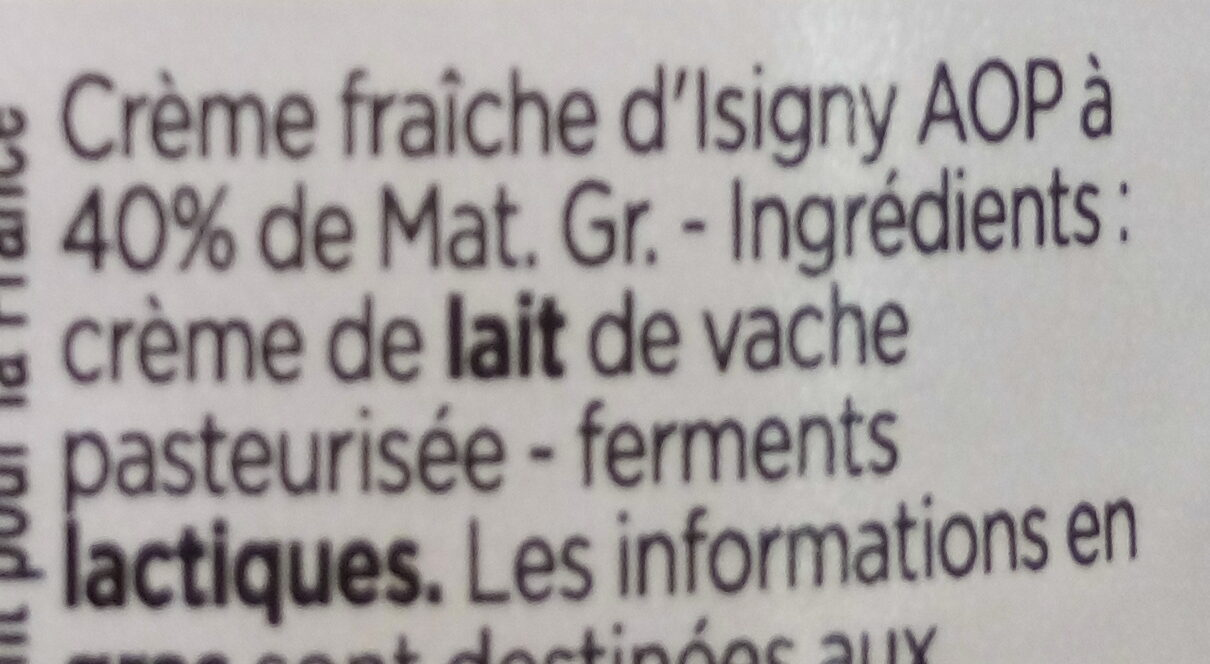 Crème d'Isigny (40% MG) - Ingredients