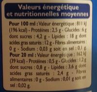 Crème semi-épaisse légère (18 % MG) - Nutrition facts