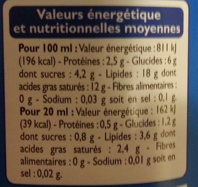 Crème semi-épaisse légère (18 % MG) - Voedingswaarden
