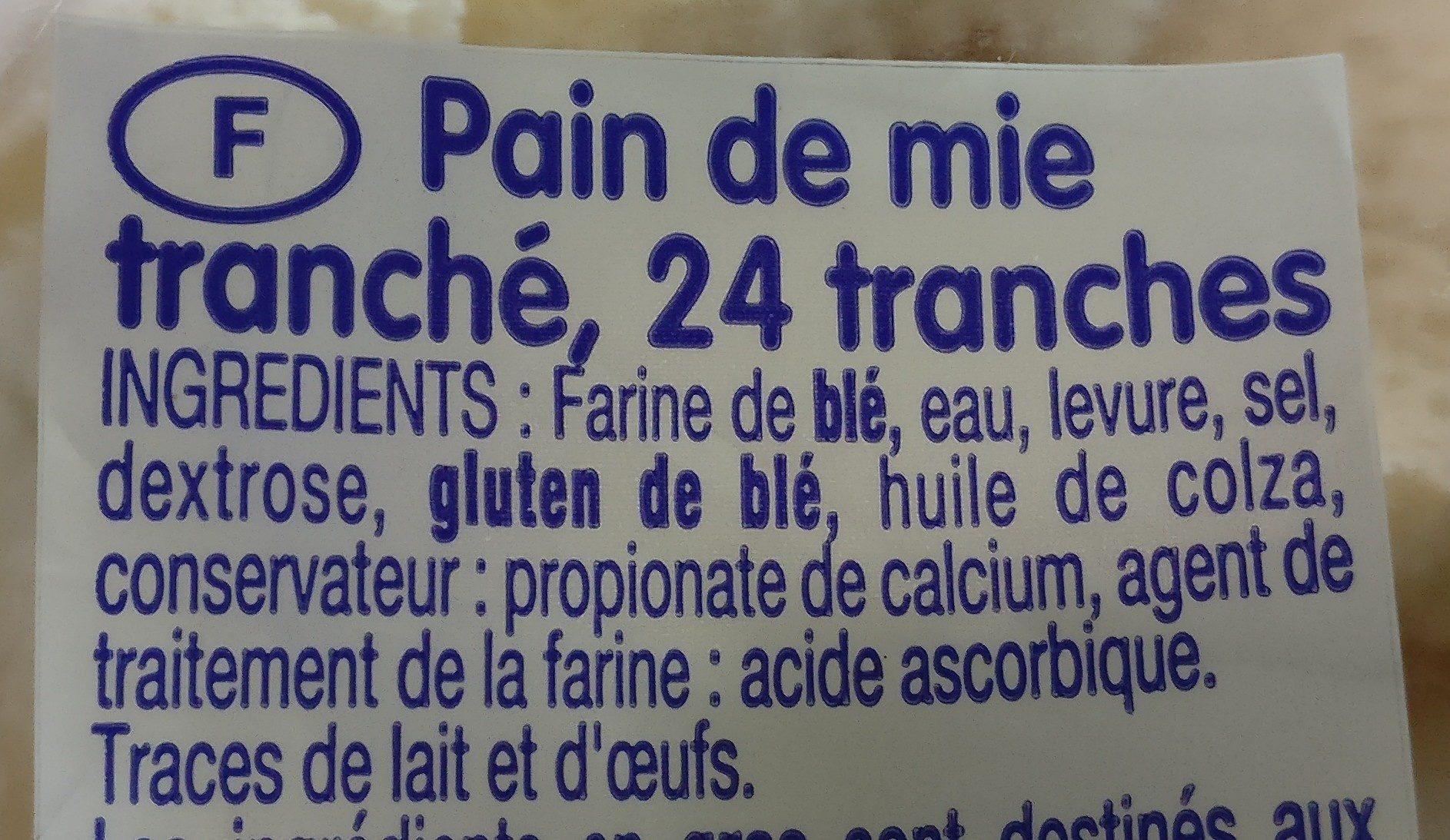 Pain de mie - Ingrediënten