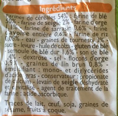 Pain de mie 7 céréales - Ingredientes - fr
