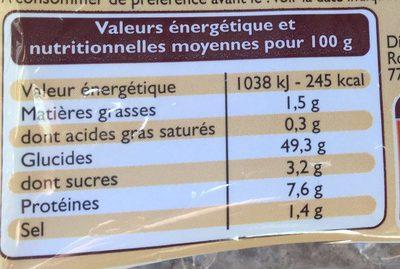 6 petits pains précuits - Informations nutritionnelles