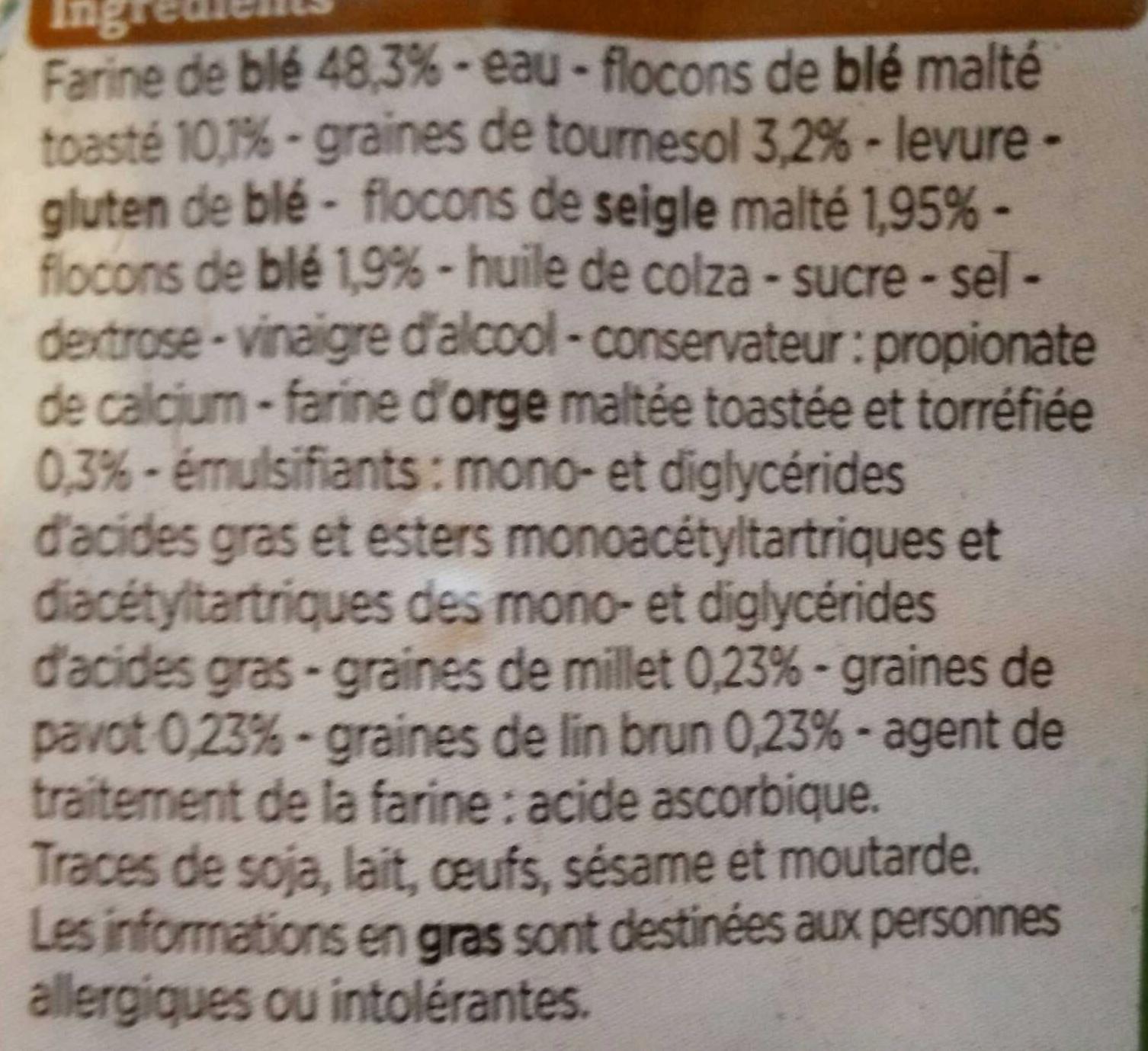 Le Moelleux aux céréales et graines - Ingredients - fr
