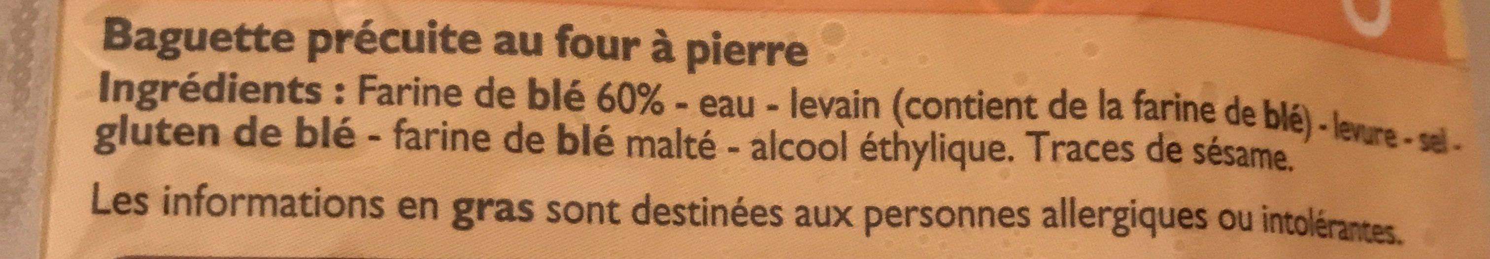 Baguette précuite - Ingrediënten - fr
