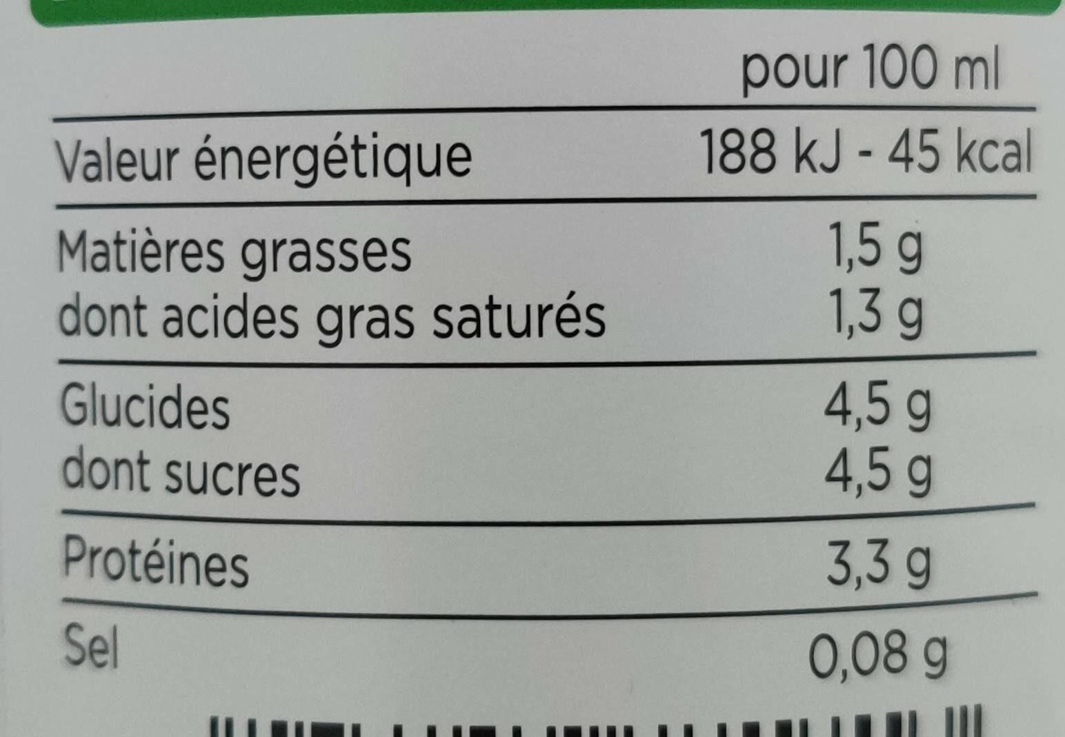 Lait frais de Normandie microfiltré demi-écrémé - Informations nutritionnelles - fr