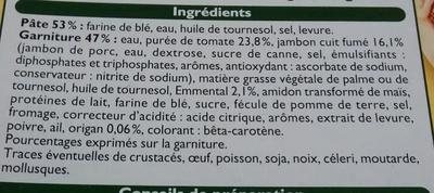 Pizzas Jambon Fromage (x 3), Surgelé - Ingrédients