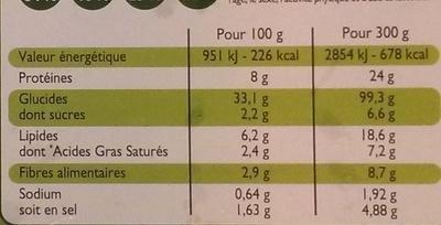3 pizzas aux trois fromages - Voedingswaarden