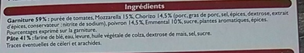 Pizza Chorizo, Cuite sur pierre - Ingredients - fr