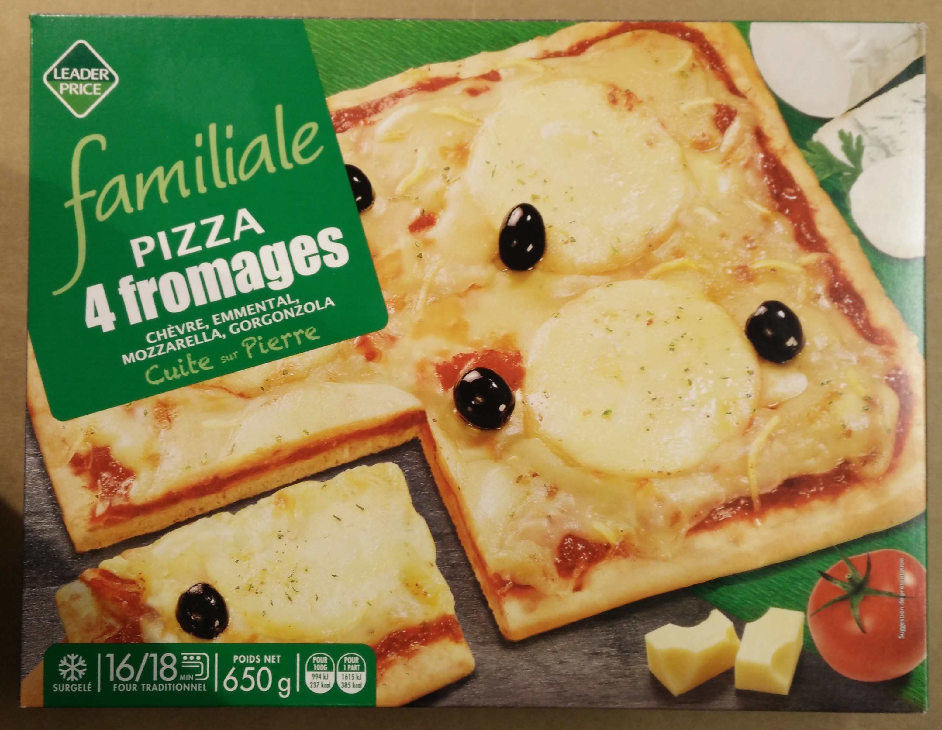 pizza 4 fromages ch vre emmental mozzarella gorgonzola leader price 650 g. Black Bedroom Furniture Sets. Home Design Ideas