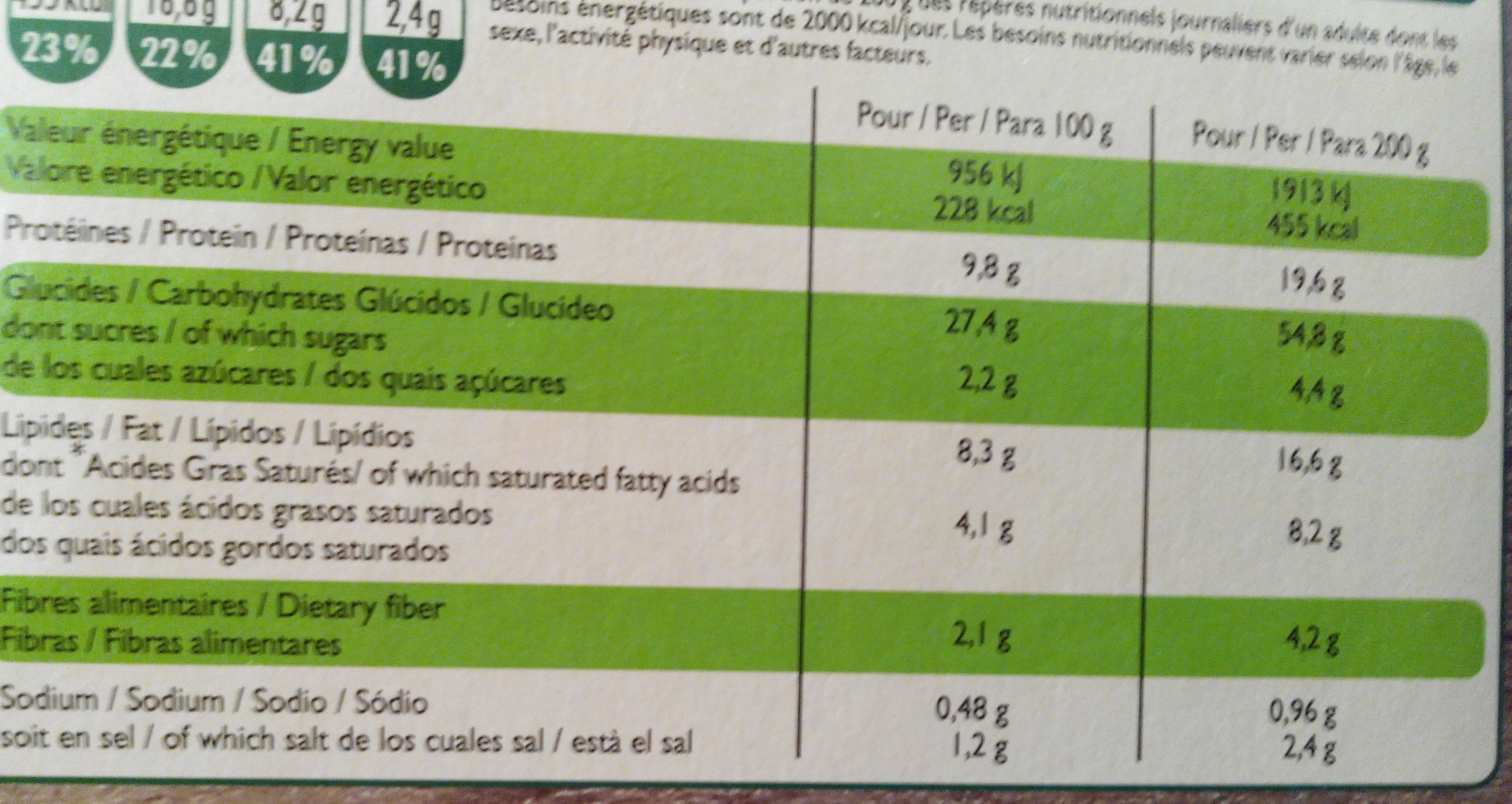 Pizza Chèvre, Cuite sur pierre - Voedingswaarden