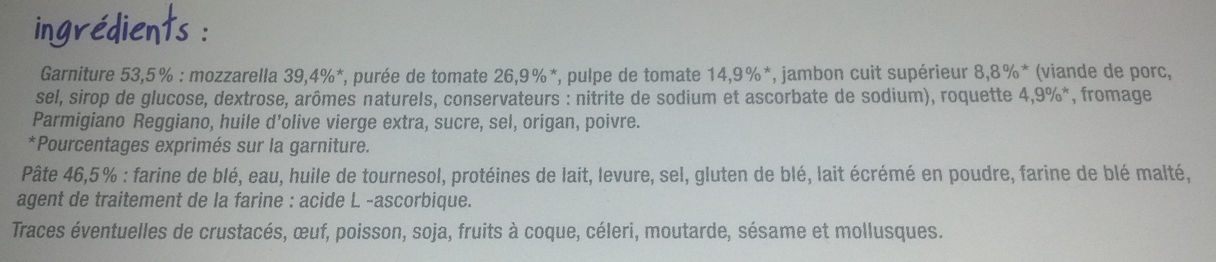 Pizza chiffonnade de jambon et roquette, Surgelé - Ingrédients - fr