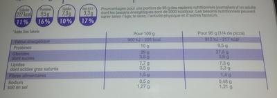 Pizza chiffonnade de jambon et roquette, Surgelé - Informations nutritionnelles - fr
