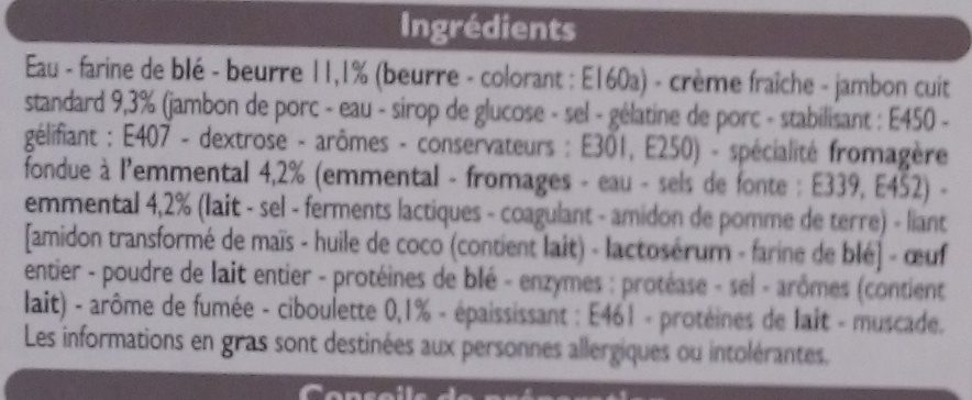 4 Paniers Feuilletés Pur Beurre Jambon Fromage - Ingrédients - fr