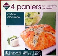 4 paniers feuilletés chèvre ciboulette - Produit - fr