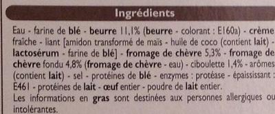4 paniers feuilletés chèvre ciboulette - Ingrédients - fr