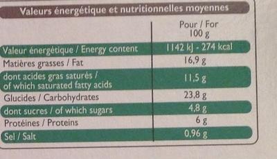 4 paniers feuilletés chèvre ciboulette - Informations nutritionnelles - fr