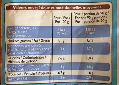 Coquilles Saint-Jacques à la Bretonne - Nutrition facts - fr