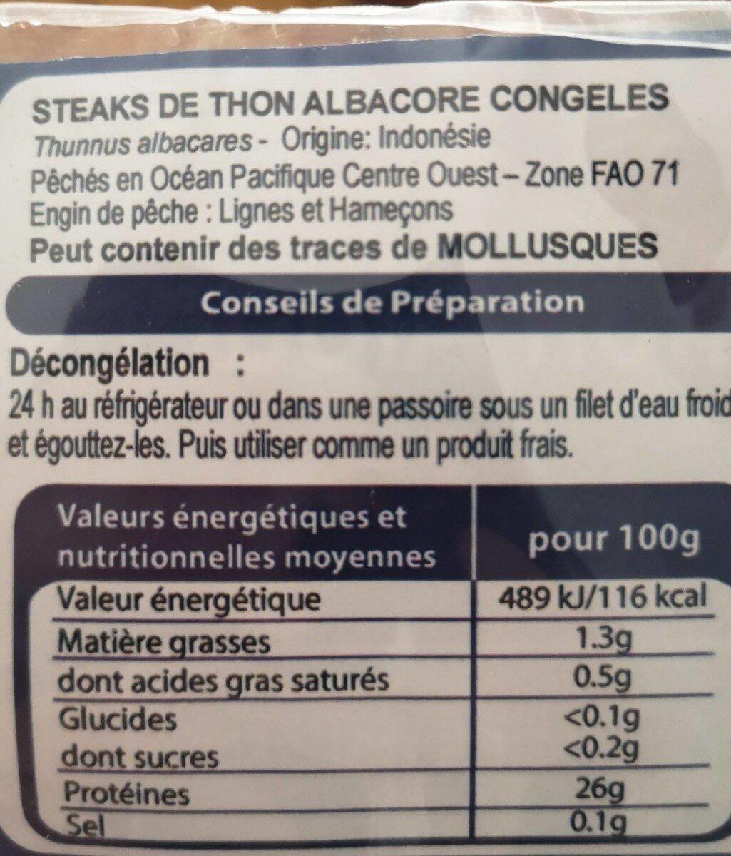 Steaks de thon albacore - Valori nutrizionali - fr