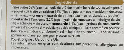 Pâtes au poulet sauce moutarde - Ingredients