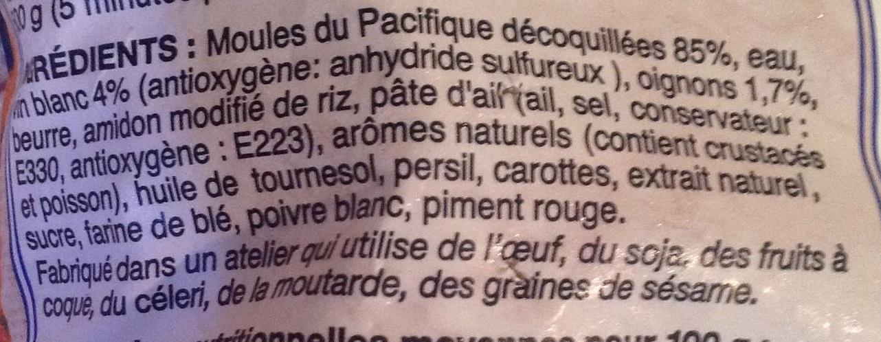 Moules marinières au vin blanc et aux oignons - Ingrédients